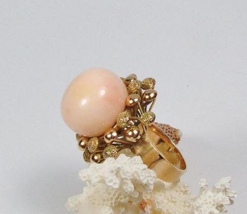 Huge, 14k yellow gold, natural Angel Skin Coral ring
