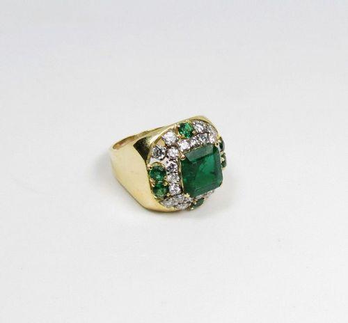 Large, estate, unisex, 18k gold, emerald diamond ring, signet