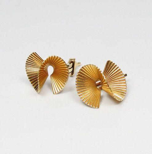 Vintage, Cartier, 14k yellow gold fan earrings