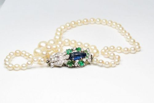 Art Deco, platinum, sapphire, emerald, diamond pearl necklace