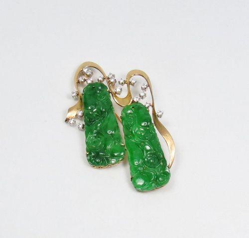 Vintage, 14k gold, carved jadeite jade, diamond brooch, pin