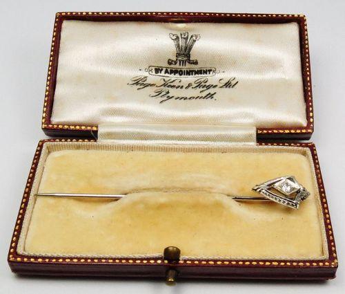 Antique, Deco, 18k white gold, diamond lapel stick pin in box