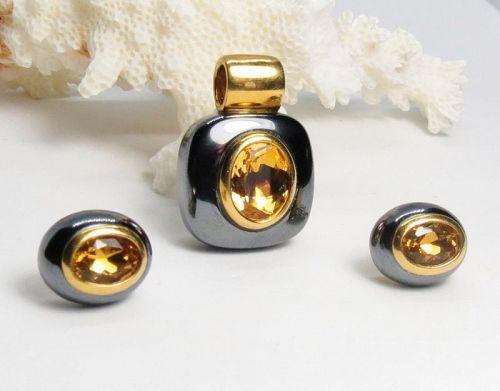Signed Damiani 18k gold, hematite citrine earrings, pendant set