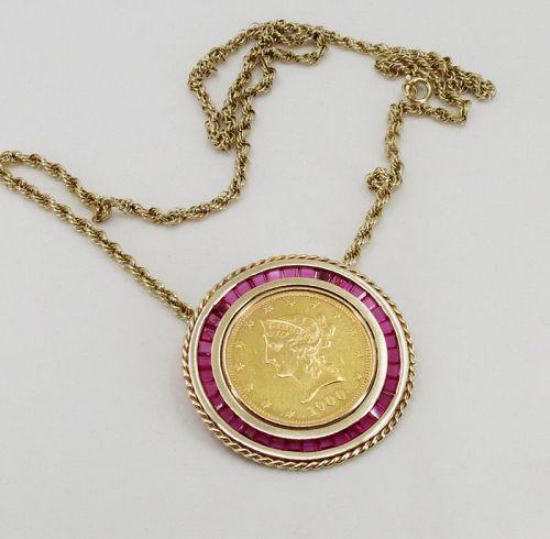 Antique 22k gold Liberty head coin, 14k gold ruby bezel pendant