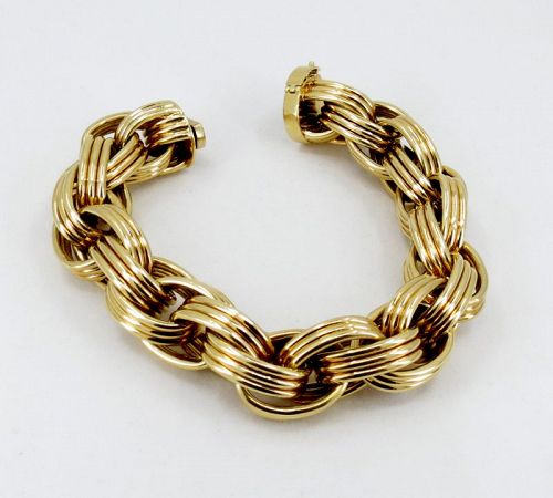 Large, solid 18k yellow gold bracelet made in Germany