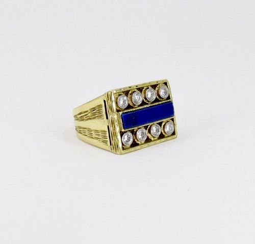 Men's, diamond, lapis lazuli ring. 18k yellow gold by Cindy Royce