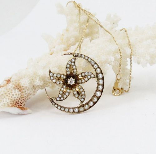 Antique, 14k gold, seed pearl diamond crescent flower necklace