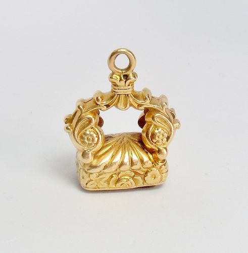 Antique, Victorian, 15k gold watch fob, 18k gold chain necklace