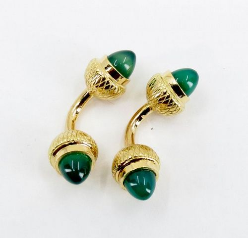 Men's, French, solid 18kgold, Chrysoprase acorn cufflinks