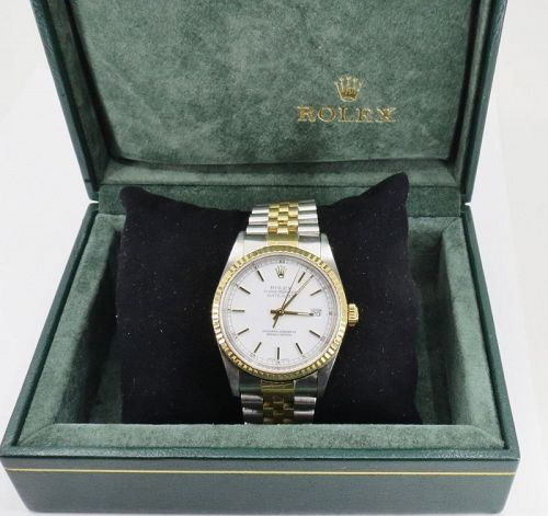 Rolex Datejust 36mm Watch Stainless Steel 18k Gold White Dial 16233
