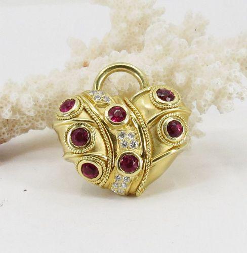 18k gold, Tsavorite Garnet, Rubellite, Diamond heart pendant