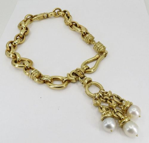Massive 18k gold chain necklace with pearl pendant. Designer signed