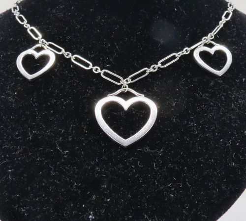 Tiffany & Co. 18k white gold, triple heart sentimental necklace