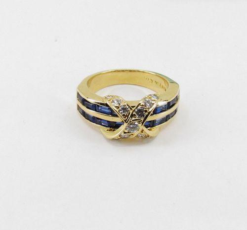 Tiffany & Co, sapphire, diamond, 18k yellow gold X ring