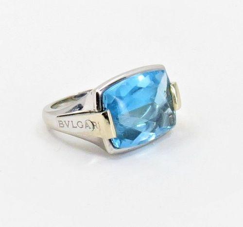 Bvlgari, Bulgari 18k white gold, blue topaz Allegra ring