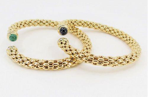 Pair of 18k gold emerald sapphire diamond flexible bangle bracelets