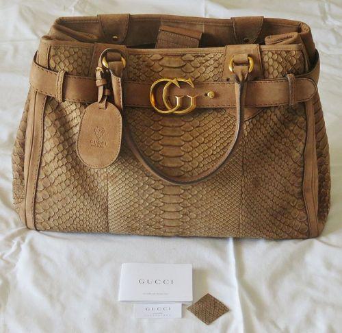 Large Gucci python Leather satchel handbag, purse