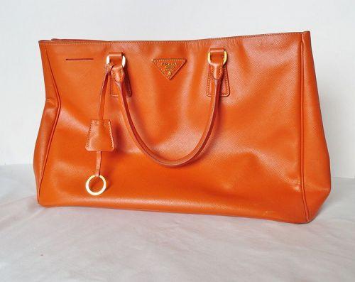 Authentic Prada orange leather Saffiano galleria handbag Italy
