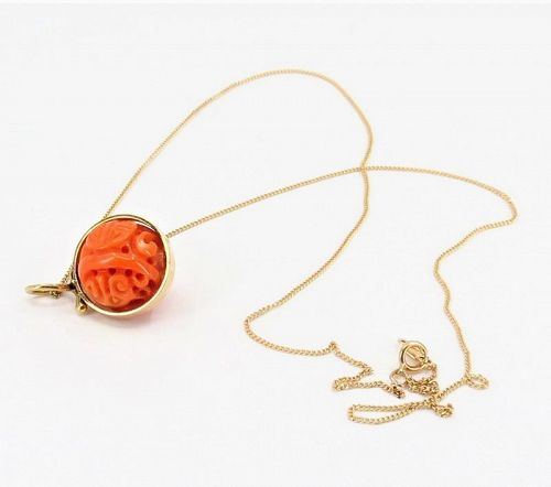 Vintage, 14k gold carved Chinese coral ball pendant, necklace