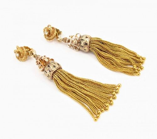 Antique, Victorian, 14k gold, diamond, enamel tassel earrings