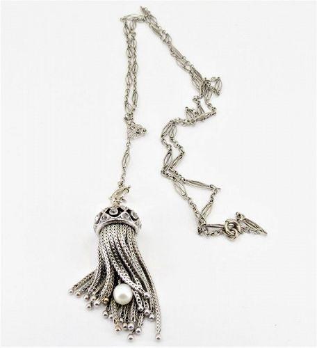 Art Deco, 14k white gold, diamond, pearl tassel necklace