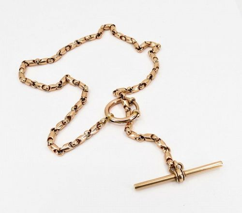 Antique, solid 14k rose gold watch chain necklace with T bar