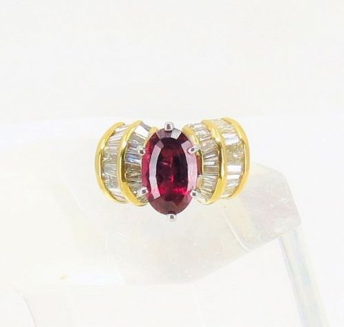 18k yellow gold , Rubellite Tourmaline, diamond ring
