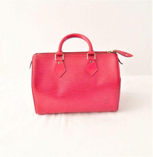 Louis Vuitton red epi leather speedy handbag satchel