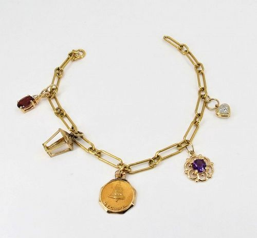14k yellow gold, gemstone charm bracelet