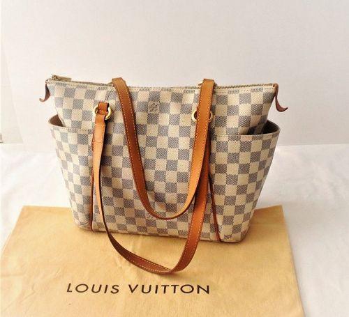 Louis Vuitton Totally Mm White Damier Azur Canvas Tote