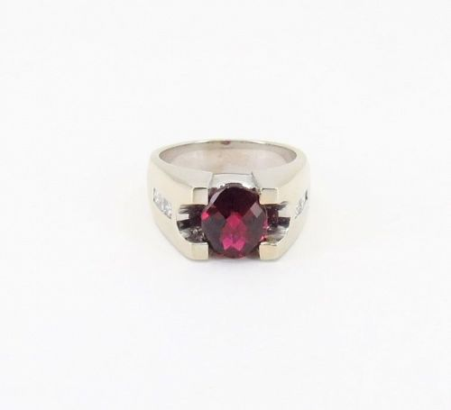 Men's 14k white gold and natural 4.31ctw spinel ring, certified.