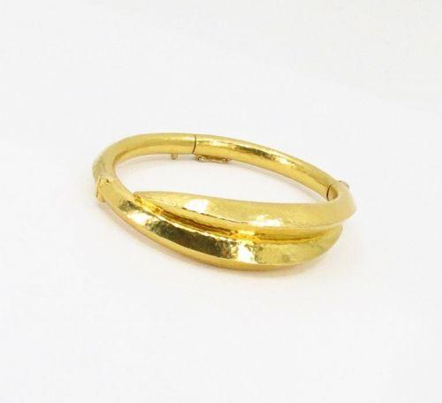 Ilias Lalaounis Greece 18k hammered gold bangle bracelet