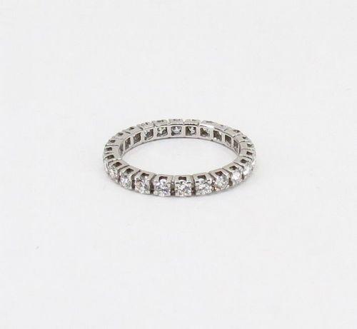 Estate, 14k white gold, diamond full eternity band ring