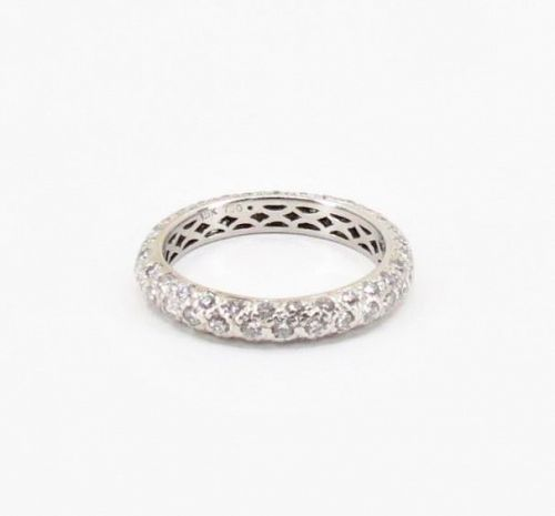 18k white gold, 1.34ctw pave diamond wedding, eternity band ring