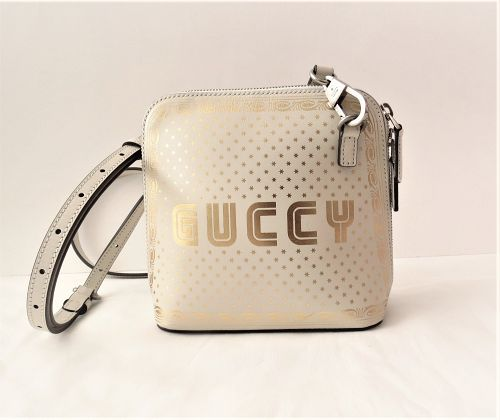 Gucci Guccy Sega Moon and Stars ivory gold leather cross body bag