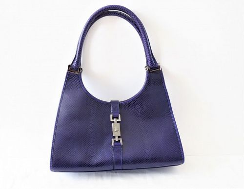 Rare, Gucci purple lizard leather Bardot shoulder handbag