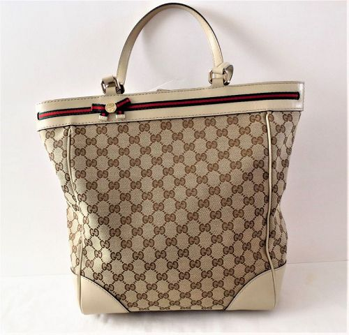 Gucci, GG Mayfair beige canvas, leather tote shoulder bag