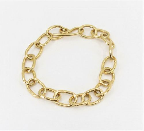 Estate, solid 18k yellow gold chain link bracelet