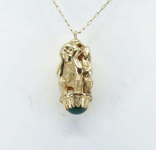 14k gold, Chrysoprase, three monkey pendant, fob. See no evil...