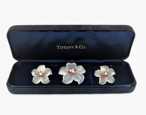 Tiffany & Co rock crystal, ruby, diamond earrings, brooch set 14k gold