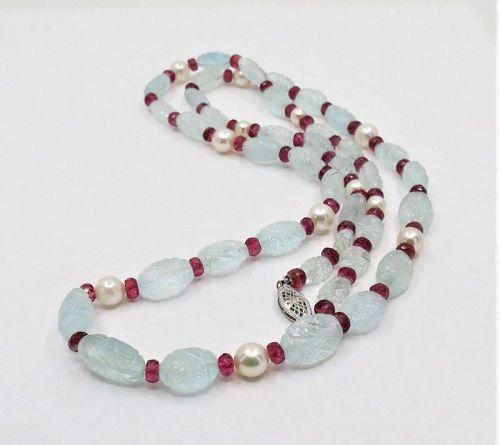 Antique, carved aquamarine, tourmaline necklace, 14k gold clasp