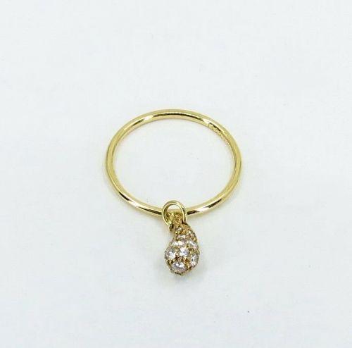 Tiffany & Co, diamond 18k gold charm ring by Elsa Peretti