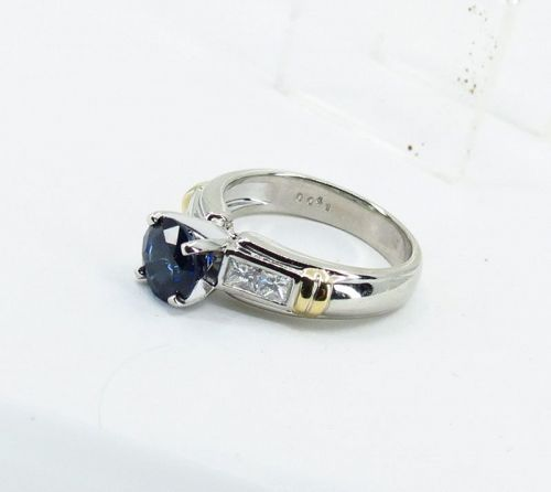 Platinum, natural sapphire, diamond engagement ring