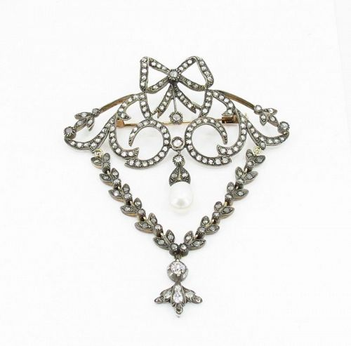 Antique, 14k gold, silver and rose-cut diamonds brooch, pendant