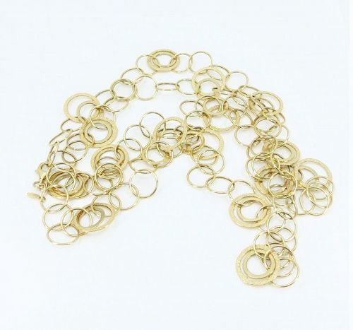 "14k yellow gold multi circle necklace 38"" long"