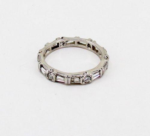 Art Deco, platinum diamond wedding eternity band, ring.