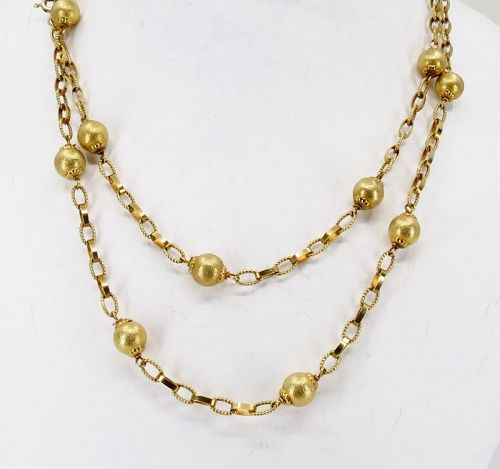 """14k gold chain bead necklace 31"""" long. UnoAErre Italy"""