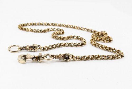 Antique, Victorian 10k/14k gold watch chain necklace