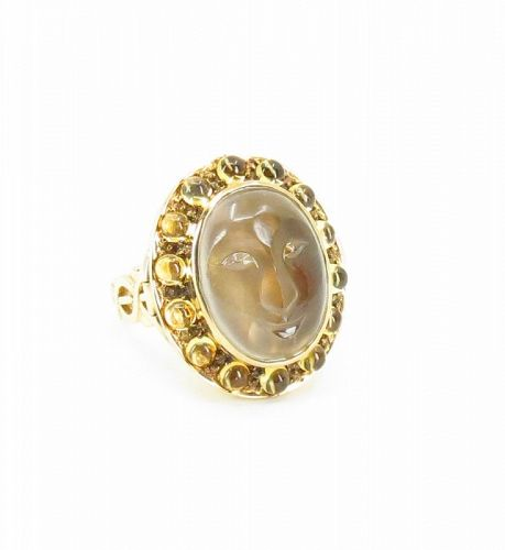 Rare, carved moonstone poison ring in 14k yellow gold