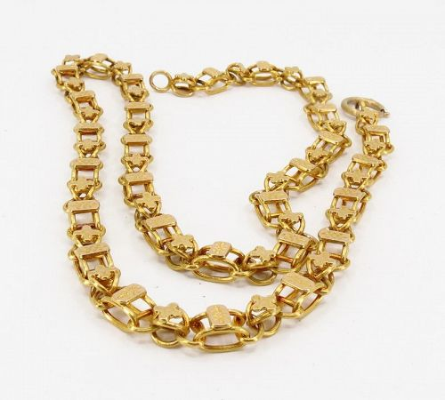 Victorian 14k yellow gold ornate watch chain necklace